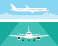 Airplane in the sky and on the runway. Airliner in side and front view. Flat style.