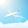 Airplane in the sky white on blue background illustration Stock Photography
