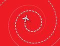 Airplane spiral spiraling down with red background Royalty Free Stock Photo