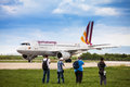 Airplane spotters taking photos of germanwings airbus a after it landed on pleso airport in zagreb croatia Stock Image