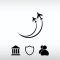 Airplane symbols icon, vector illustration. Flat design style