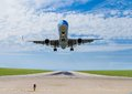 Airplane taking off from tarmac Royalty Free Stock Photography