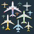 Airplane top view vector illustration. Royalty Free Stock Photo