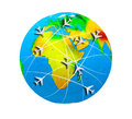 Airplane travel aircraft lines on a color globe Stock Photography