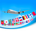 Airplane travel background with flags of different countries Stock Image