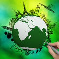 Airplane traveling around the world on green nature Royalty Free Stock Photo
