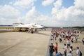 Airplane Valentine Blyznyuk and spectators Royalty Free Stock Photo