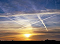 Airplane vapour trails Stock Photography