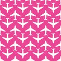 Airplane, vector seamless pattern, white on pink