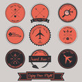 Airplane vintage label design with style Stock Photos