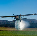 Airplane water bomber fire smoke Royalty Free Stock Photography