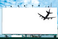 Airplane with white large billboard advertise Royalty Free Stock Photo