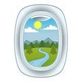 Airplane window view vector illustration.