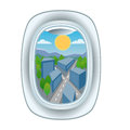 Airplane window view vector illustration.