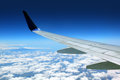 Airplane wing with blue sky Royalty Free Stock Photo