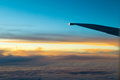 Airplane Wing in Fligh Royalty Free Stock Photo