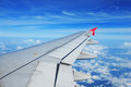 Airplane wing, passenger view Royalty Free Stock Photo