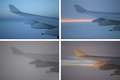 Airplane wing variations a collage of the same under different lighting and times Royalty Free Stock Image