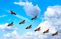 Airplanes, blue  sky, abstract - in opposition Royalty Free Stock Photography