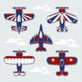 Airplanes cartoon for childish scrapbook set of funny decoration in vector format very easy to edit individual objects Royalty Free Stock Images