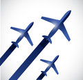 Airplanes flying in the same destination. Royalty Free Stock Photos