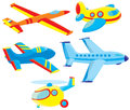 Airplanes and helicopter set of toy vector clip arts on a white background Stock Image