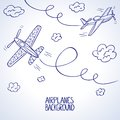 Airplanes illustration doodle silhouette of two airplane among the clouds Stock Images