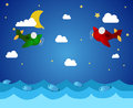 Airplanes and sea illustration of two over with fish clouds moon stars Stock Photos