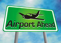 Airport ahead sign board Stock Photos