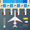 Airport Apron Plane At Jet Bridge Royalty Free Stock Photo
