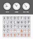 Airport arrival table alphabet with characters and numbers for departures, arrivals, clocks, countdowns. Royalty Free Stock Photo