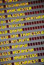 Airport arrivals and departures board close up vertical Royalty Free Stock Photo