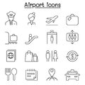 Airport & Aviation icon set in thin line style