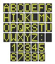 Airport board letters font and numbers imitating a digital display usable for schedules train timetables etc Royalty Free Stock Photos
