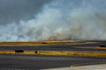 Airport Brush Fire Closes San Salvadore Airport Stock Image