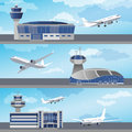 Airport building with control tower. Vector