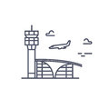 Airport building. Plane is landing. Vector line icon Royalty Free Stock Photo