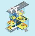Airport building runway plane flat 3d web isometric concept