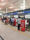 Airport check in beijing china april counters beijing international Royalty Free Stock Photo