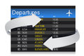 Airport departures Board with arrows Royalty Free Stock Photo