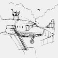 Airport drawing an image of an Stock Photo