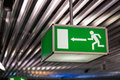 Airport emergency exit sign Royalty Free Stock Photo