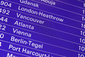 Airport flight departures board information on a screen at an Royalty Free Stock Images
