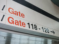 Airport gates direction to with arrow Stock Image