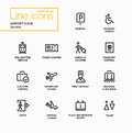 Airport Guide - modern vector single line icons set