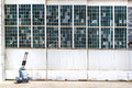 Airport hangar the at with the glass damaged from a gun attack Royalty Free Stock Images