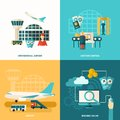Airport icon flat design concept set with customs control and online booking icons isolated vector illustration Royalty Free Stock Photography