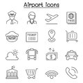 Airport icon set in thin line style