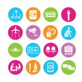 Airport icons air travel management in colorful round buttons Stock Photos