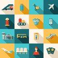 Airport Icons Flat Set Royalty Free Stock Photo